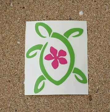 Turtle Plumeria #161b - Vinyl Decal Sticker 5 by 4.25 inch