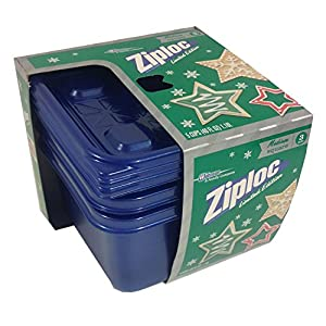 Ziploc Limited Edition Holiday Colored Storage Containers with Lids (Medium Square, Blue)