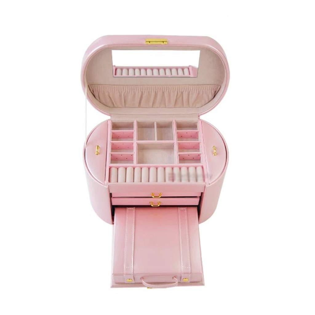 ジュエリー収納ボックス大容量ジュエリーボックス革ベルトロックトラベルバッグ多層ファッションジュエリー収納ネックレスリングボックス結婚祝い、誕生日プレゼント (Color : Pink, Size : 28.5*17*17cm) 28.5*17*17cm Pink B07Q2J21BS