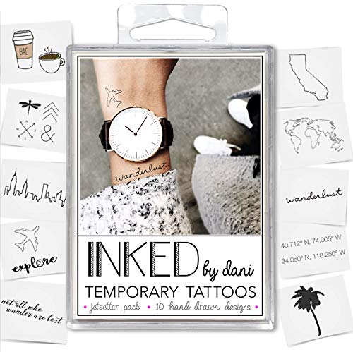INKED by Dani Temporary Tattoo Designs - Jet Setter Pack. Realistic, Hand-Drawn Body ArtArt]()