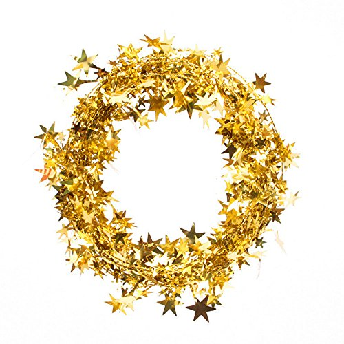 Bolansi 3PCS Star Garland Tinsel Stars brace,Tinsel Wire Garland Christmas Decoration Party Accessory (Gold Tinsel Star)