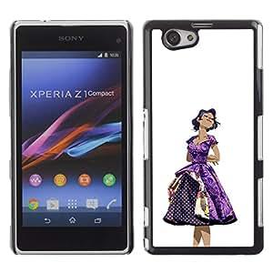 GOODTHINGS Funda Imagen Diseño Carcasa Tapa Trasera Negro Cover Skin Case para Sony Xperia Z1 Compact D5503 - 50 años vestido de la mujer púrpura de moda el pelo negro