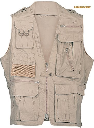 Humvee Photo Safari Vest, Khaki, L HMV-VS-K-L by CampCo