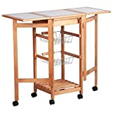 AyaMastro Portable Wooden Rolling Kitchen Cart Storage Trolley Shelf w/ 2 Side Panel & Drawer with Ebook