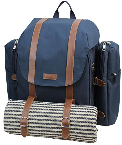 Picnic Backpack for 4 | Picnic Basket | Stylish All-in-One Portable Picnic Bag with Complete Cutlery Set, Stainless Steel S/P Shakers | Waterproof Knitted Picnic Blanket | Cooler Bag for Camping (Picnic Set Bag)