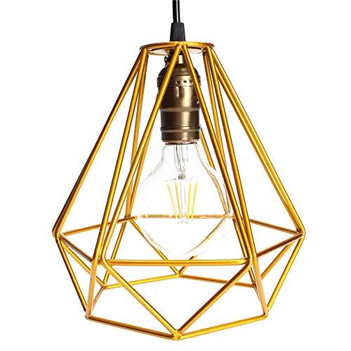 Lámpara colgante vintage con jaula industrial, pantalla de lámpara ...