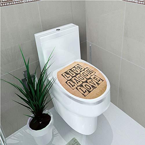 Toilet Applique,Live Laugh Love Decor,Black Alphabet Stamps on Aged Grungy Backdrop Vintage Print Decorative,Black Light Brown,Custom Sticker,W12.6