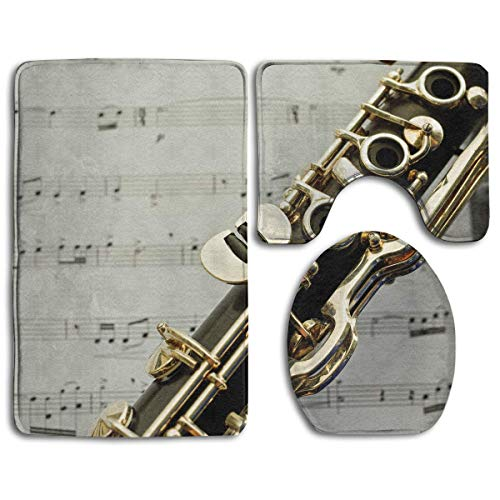 Clarinet Keys Music 3 Pack Bath Mat Set Non-Slip Flannel for Men and Women Antibacterial Toilet Seats, Bathroom Carpets, Bathroom Accessories]()
