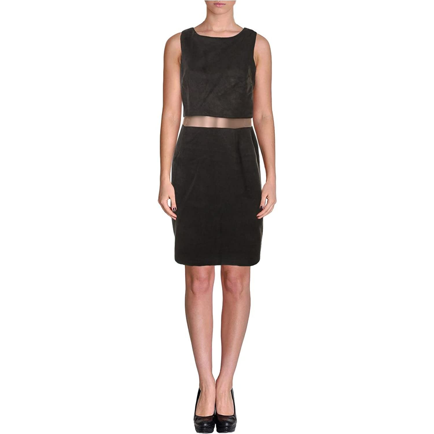 Bailey 44 Womens Faux Suede Mesh Inset Cocktail Dress Black S