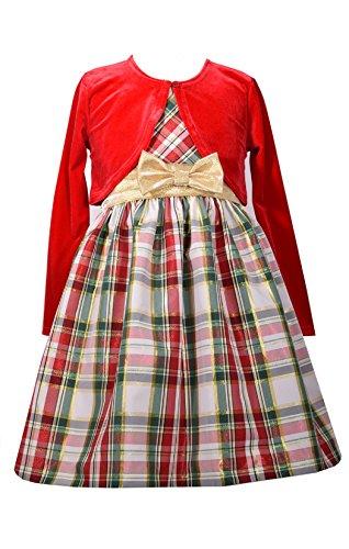 (Bonnie Jean Girls' Taffeta Holiday Cardigan Dress (3T, Red))