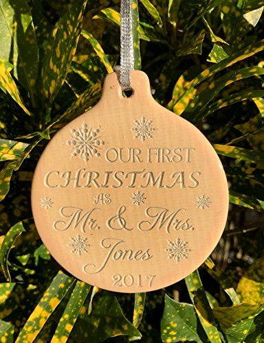 Personalized 1st Christmas Ornament Makes Great Gift for New Couple Laser Engraved Snowflake Design