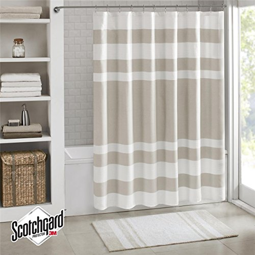 """Madison Park MP70-1483 Spa Waffle Shower Curtain 72x72"""" Taupe,72x72"""""""