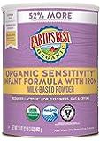 Earth's Best Organic Low Lactose Sensitivity Infant Formula with Iron, Milk-Based Powder, 35oz.