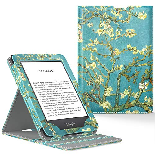 MoKo Case Fits All-New Kindle 10th Generation 2019 Release, Vertical Flip Smart Protective Cover with Auto Wake/Sleep Function - Almond Blossom