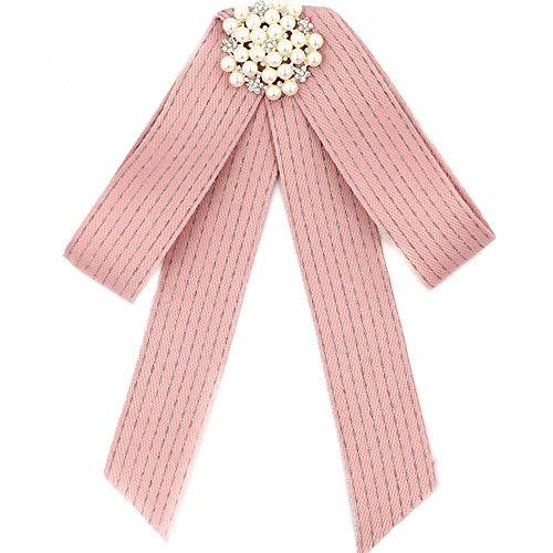 YANQINQIN Crystal Pearl Ribbon Tie Men/Women Rhinestone Pre Tied Bow Collar Brooch Pin (Pink) ()