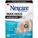 Nexcare Max Hold Waterproof Bandages, Stays On Up to 48 Hours, 40 Count, Assorted Sizes