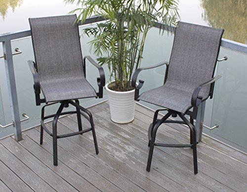 Pebble Lane Living Set of 8 Swivel Sling Patio Bar Stools with Back - - Bar Stool Swivel 25 Outdoor