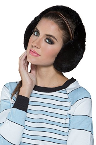 Glamourpuss NYC Women's Black Rex Rabbit Fur Earmuffs by Glamourpuss NYC