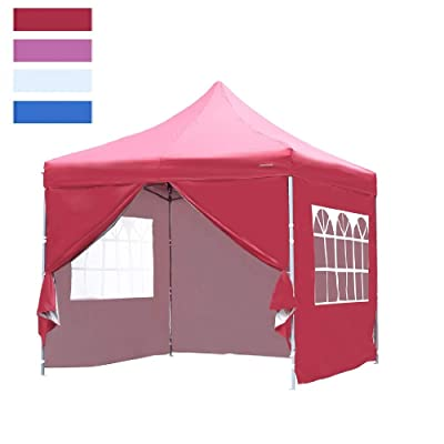 Leisurelife Heavy Duty 10'x10' Pop Up Canopy Tent with 4 Sidewalls - Red Outdoor Folding Commercial Gazebo Party Tent : Garden & Outdoor