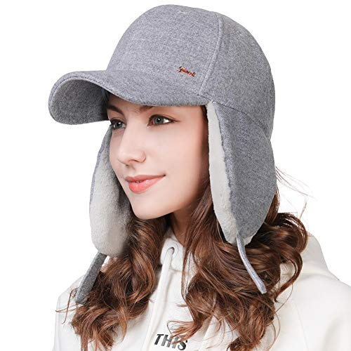 (Winter Trapper Hat for Women Wool Baseball Cap with Earflap Elmer Fudd Hat Fur Hunting Snow Cold Weather Blue)