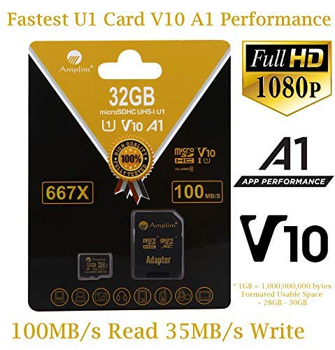 32GB Micro SD Card Plus Adapter. Amplim 32 GB MicroSD Memory Card. (100MB/s 667X V10 A1 Class 10 U1 UHS-I) MicroSDHC Card TF for Cell Phone, Tablet, Camera, Fire, GoPro, Nintendo, Dashcam, DJI, LG