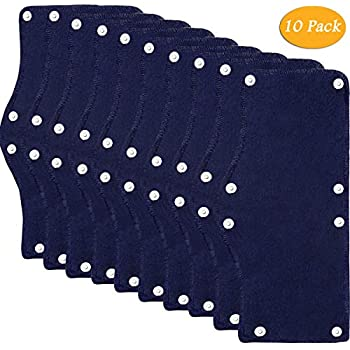Cotton Hard Hat Sweatband Reusable Terry Cloth Snap-On Sweatband Liner Washable Hard Hat Accessories 10 Sets Blue