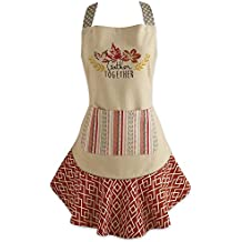 """DII Cotton Thanksgiving Kitchen Apron with Pocket and Extra Long Ties, 28.5 x 26"""", Cute Women Ruffle Apron for Family day, Holidays, Christmas and Housewarming Gift-Get Together"""