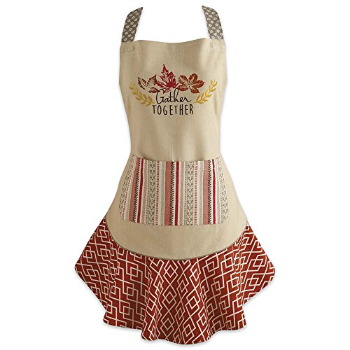 DII Cotton Thanksgiving Kitchen Apron Pocket Extra Long Ties, 28.5 x 26, Cute Women Ruffle Apron Family Day, Holidays, Christmas Housewarming Gift-Get Together