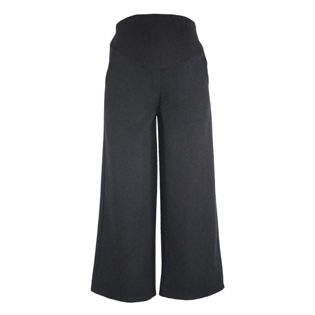 Zhhlaixing Casual Pregnant Donna Belly Wide Leg Cropped Pantaloni Comfortable Pregnancy Premaman Vestiti Black