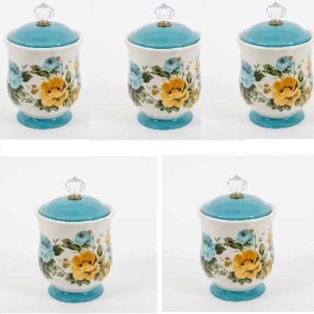 New 5 lb Rose Shadow 8.25-Inch Solid Teal Footed Floral Base Versatile and Stylish Canister w/ Acrylic Knob (Set of 5)