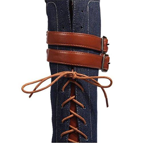 à Multicolore 47 Côté 40 Bas Dames Tall Bottes Talons BLUE Rough Knight Talon Chaussures Boucle Taille Grande Couture BOTXV Ceinture Femmes Tube 35 Zipper 6PEqFF
