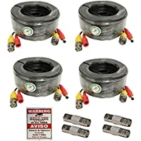 WennoW 4 PACK 125ft bnc video power cable security camera wire cord for cctv dvr surveillance system (included 1x BNC to BNC connectors with each cable)