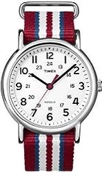 Timex Unisex T2N746 Weekender Slip Thru Red, White & Blue Stripe Nylon Strap Watch