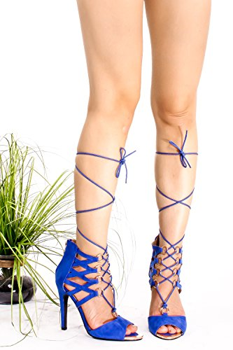 Marilyn Moda Suede Open Toe Lace Up Design Ritaglio Posteriore Cerniera Stiletto Tacchi Blu