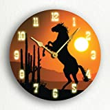 Cheap Horse at Sunset Western Themed 12″ Silent Wall Clock
