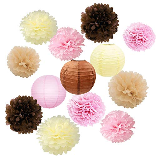 - Furuix Baby Shower Decorations Vintage Party Decorations Pink/Brown/Tan/Cream Tissue Paper Pom Pom Paper Lanterns for Girls' Princess Birthday Party Decorations/Bridal Shower/Wedding Decorations