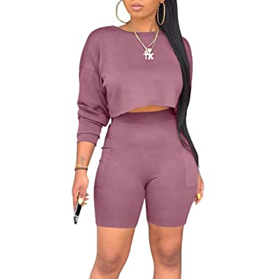 cailami Women's Casual 2 Piece Club Outfit Jumpsuit Crop Tops Bodycon Shorts Set with Pockets: Clothing