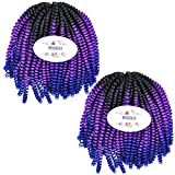 MSBELLE 2 Packs/Lot Spring Twist Crochet Braiding Hair Extensions 9 Inch Kinky Curly Short Synthetic Fiber Braids Hair(Black to Purple Red to Blue)