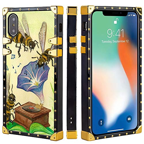 Square Cover Case Compatible for iPhone 10/iPhone X/iPhone Xs [5.8-Inch] Morning Glory Flower with Bee ()