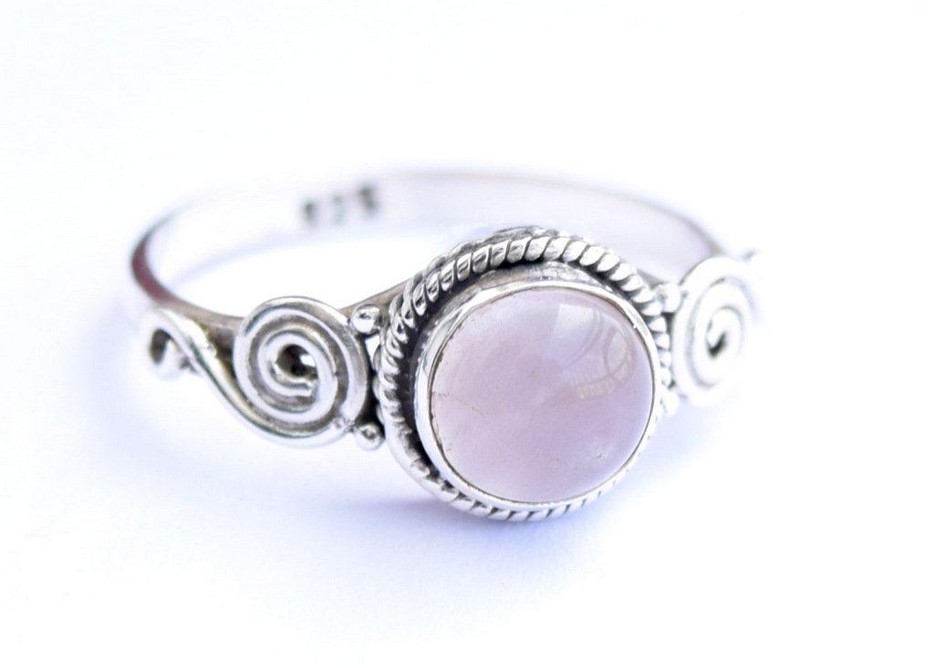 Rose Quartz Ring, 925 Sterling Silver Rose Quartz Stone Ring, Girl Women Gift Ring Size US 5 6 7 8 9 10 11 12