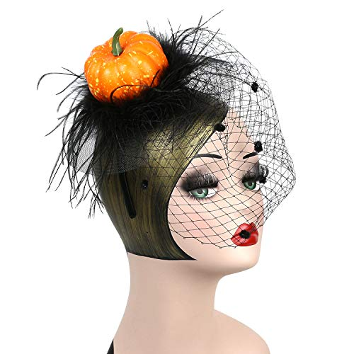 LATIMOON Halloween Cushaw Headband Ostrich Feather Fascinators Mesh Veil Headwear Pumpkin Accessories for Women and Children - Orange