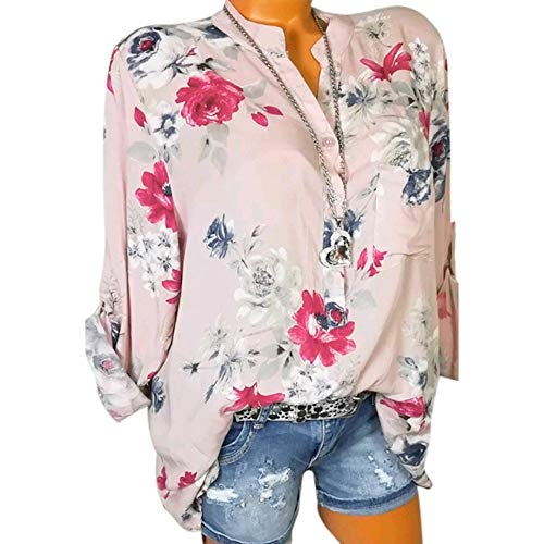 GOWOM Women Plus Size Chiffon Floral Print Long Sleeve Blouse Pullover Tops Shirt(Pink,XX-Large) ()