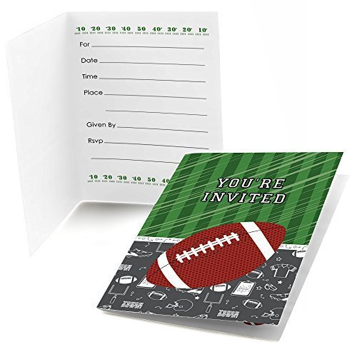 End Zone - Football - Fill In Baby Shower or Birthday Party Invitations (8 (Football Invitations)