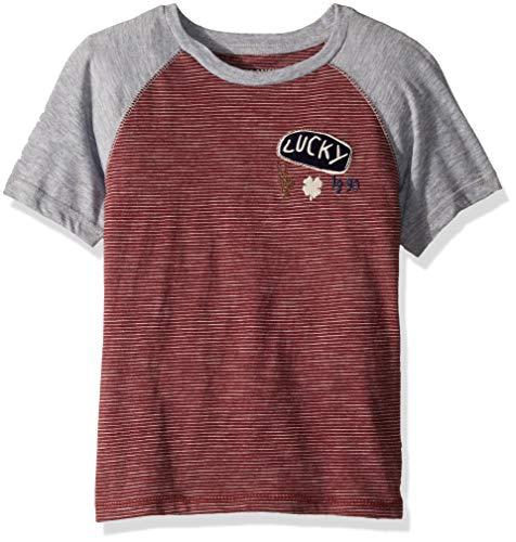 Lucky Brand Little Boys' Short Sleeve Stripe Raglan Tee Shirt, Zinfandel Heather, 4/5