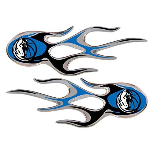 Dallas Mavericks 2-pack Drip Molded Plastic Raised Flame Flames Decal Emblem Sticker Basketball