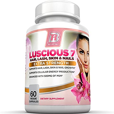 BRI Nutrition Luscious 7 - Hair Lash Skin and Nails Formula Growth Booster Supplement - 60 count Vegetarian Capsules - With Vitamins and - Protein Booster Skin Serum
