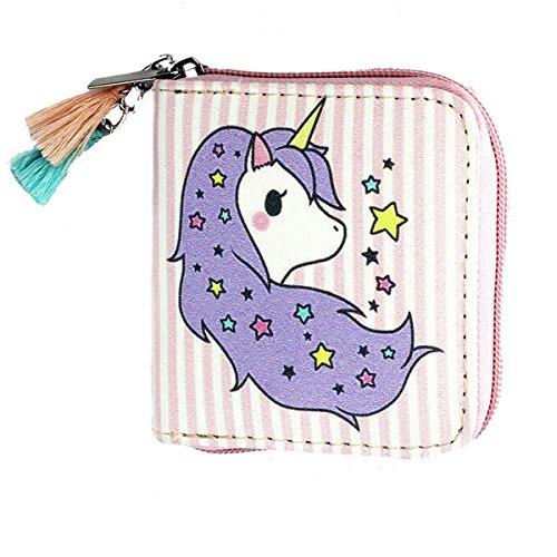 Timlee Cute Fashion Cartoon Rainbow Unicorn Design Short Clutch Purse Wallets (Pink) (Wallets Clutch Girl)