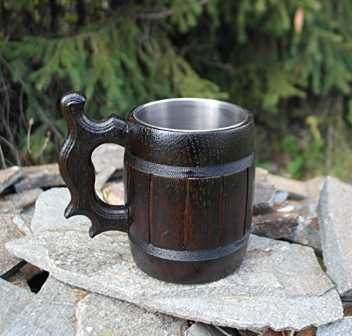 Handmade Beer Mug Made of Wood Tankard Wooden Stein Beer Tankard Stein Crafted Beer Mug Cup Capacity: 20.28oz (600ml) by Etno Motif (Image #1)