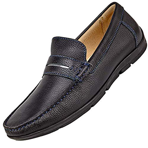 Men's Slip On Loafers -Dress and Casual Moccasins -Genuine Leather, Rubber Sole (11.5 US, Peak Performance) ()