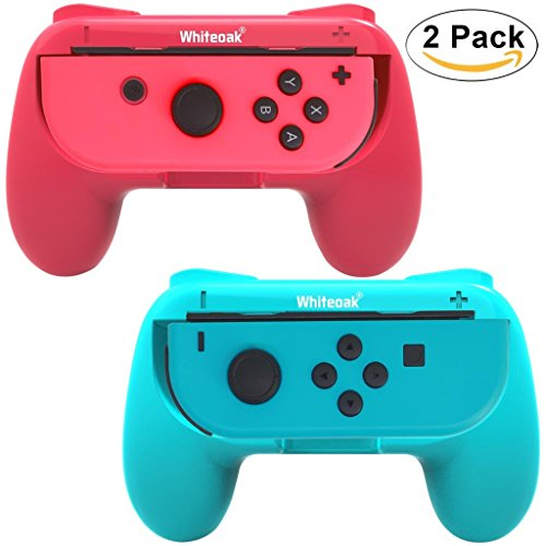 Whiteoak Joy-Con Grip, [Upgraded Version] Durable Joy-con Handle Controller Grip Kit for Nintendo Switch, 2 Pack (Blue+Red)